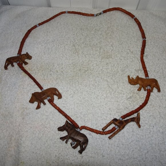 Unknown Jewelry - Wooden Animal Carved Boho Tribal Beaded Necklace